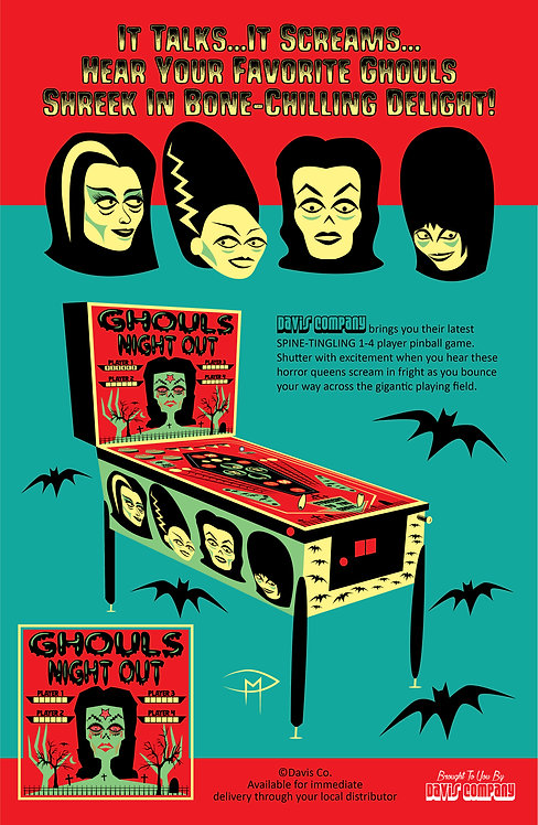 """Ghouls Night Out Pinball Ad"" 11""x17"" Poster"