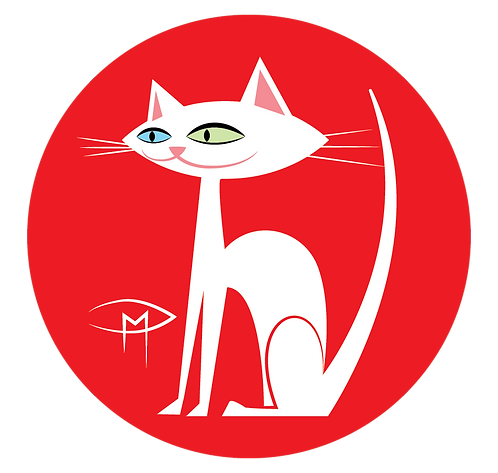 """White Kittie Red Background 2.25"""" Button"""