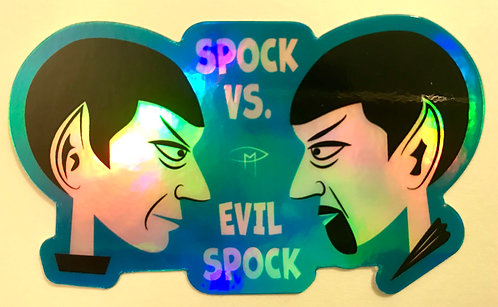 """Spock Vs Evil Spock"" Die Cut Holographic Sticker"