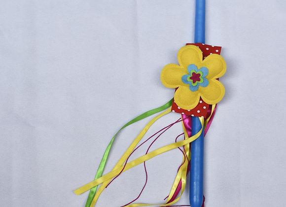Λαμπάδα μπλε με λουλούδι