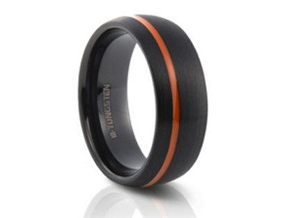 TUNGSTEN Luxe 8mm | Black Orange Single Accent