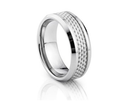 TUNGSTEN Luxe 8mm | Metal White Carbon Centre