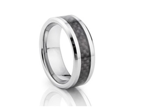 TUNGSTEN Luxe 8mm | Metal Black Carbon Centre