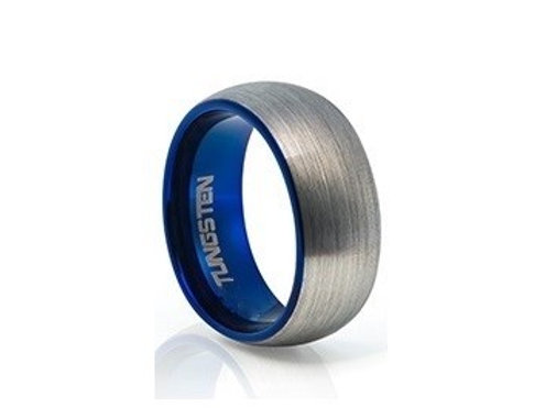 TUNGSTEN Trivia 8mm | Blue Accent Brushed Metal Outer