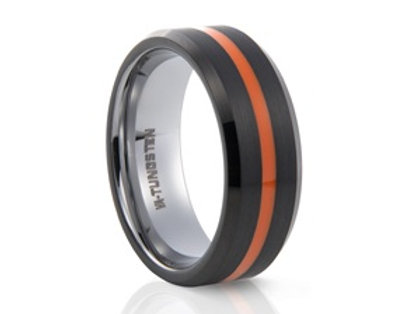 TUNGSTEN Luxe 8mm | Black Orange Bevel Edges