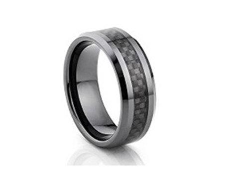 TUNGSTEN Luxe 8mm | Black Black Carbon Centre