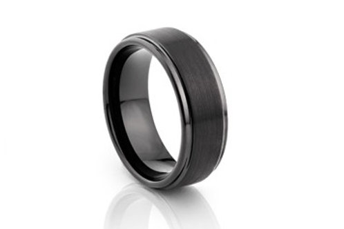TUNGSTEN Trivia 8mm | Black Brushed Flat Shiny Edge