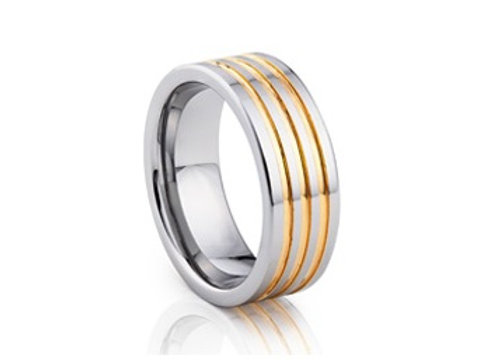 TUNGSTEN Trivia 8mm | Metal Shiny Yellow Inlay