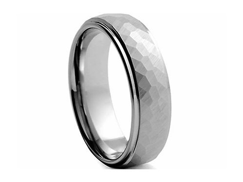 TUNGSTEN Trivia 8mm | Hammered Inner Polished Edges