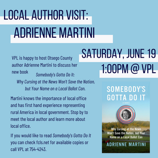 Local Author Adrienne Martini Visits Today @ 1:00