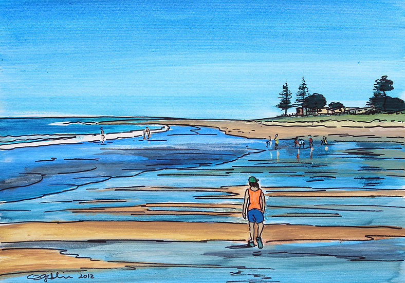 Whangamata Reflections (2012) - with no mat board or frame