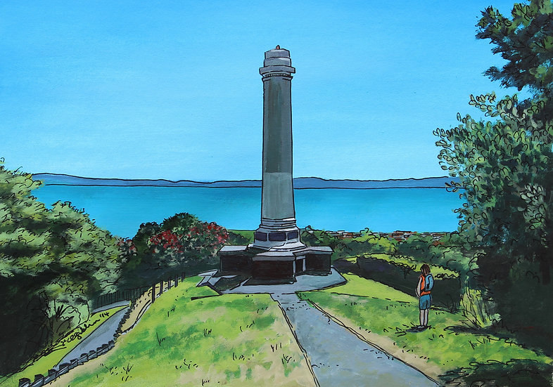 Thames WWI War Memorial (2014) - with mat board in a white frame