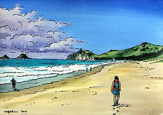 Big Skies paintings by Charlotte Giblin Hahei Beach