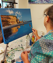 Three Sisters Taranaki Coastal acrylic painting workshop in New Plymouth