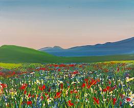 Summer meadow palette knife acrylic painting workshop Charlotte Giblin sample
