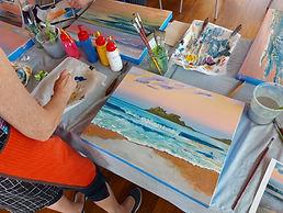 Sunset seascape acrylic painting workshop in Tairua