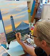 Egmont Lighthouse acrylic painting workshop in New Plymouth
