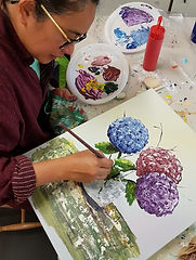 Hydrangeas - Florals - acrylic painting palette knife workshop New Plymouth