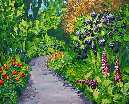 Colourful Garden path workshop sample by Charlotte Giblin