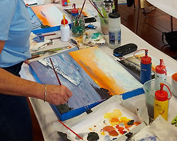 Sunrise seascape acrylic painting workshop in Whitianga