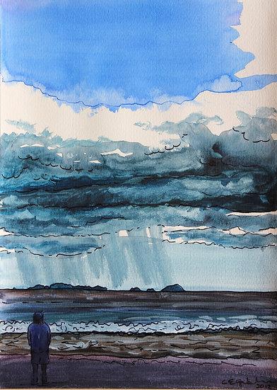 Rain over Buffalo Beach (2012) - with no mat board or frame