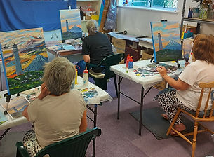 Cape Egmont Lighthouse acrylic painting workshop with Charlotte in New Plymouth