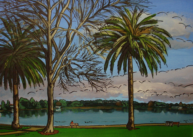 Two Palms (2013) - with mat board in a black frame
