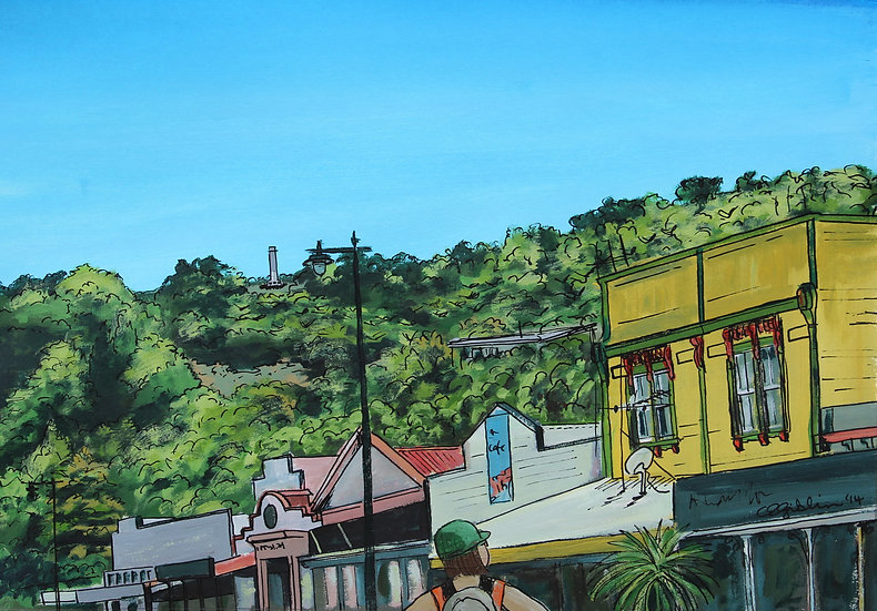 Grahamstown Rooftops (2014) - with mat board in a white frame
