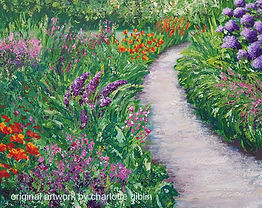 Colourful Garden Path acrylic painting workshop Charlotte Giblin sample