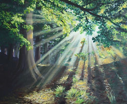 Light through the Trees acrylic painting workshop Charlotte Giblin sample