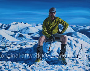 Snow capped mountain and climber_acrylic