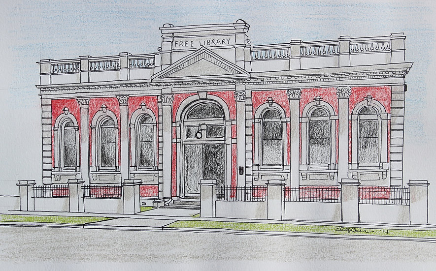 Carnegie Library (2014) - in a black A3 frame