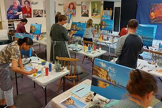 Three Sisters Taranaki Coastal scene painting workshop with Charlotte