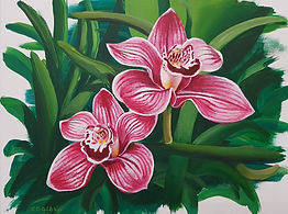 Orchid acrylic painting workshop Charlotte Giblin sample