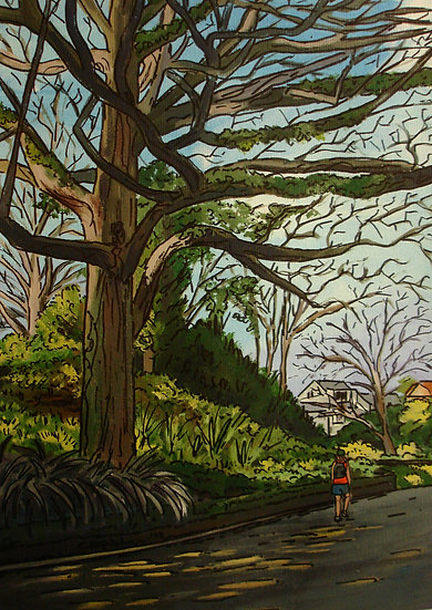 Dappled Road (2013) - with mat board in a black frame