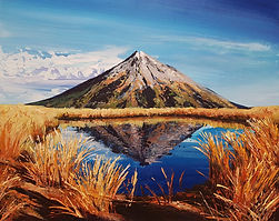 Mountain Reflections acrylic painting palette knife workshop Charlotte Giblin sample