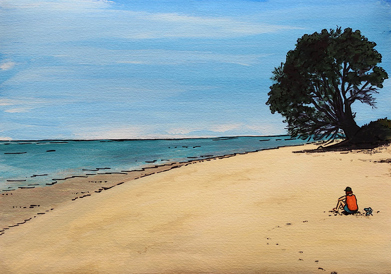 Matarangi Beach (2014) - with no mat board or frame