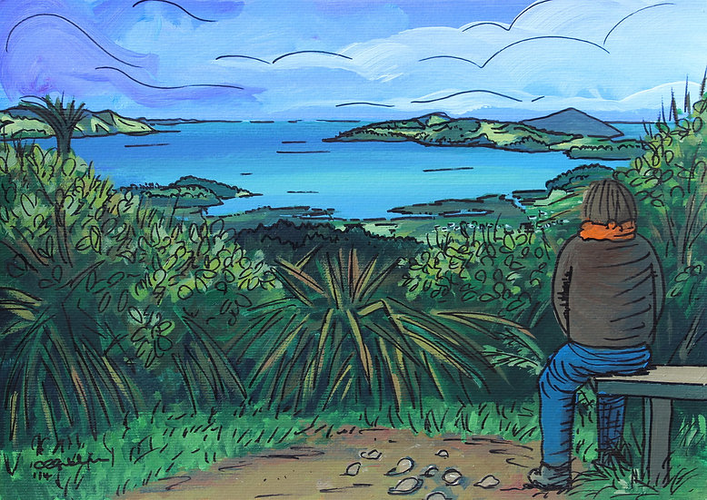 Looking Down on Coromandel Town (2014) - with no mount or frame