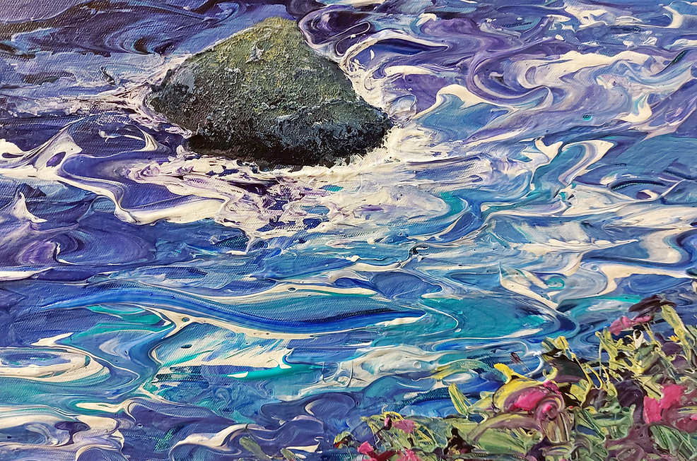 charlotte giblin acrylic painting of water and rocks 2021
