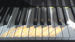 Sunlight glinting off my piano keys
