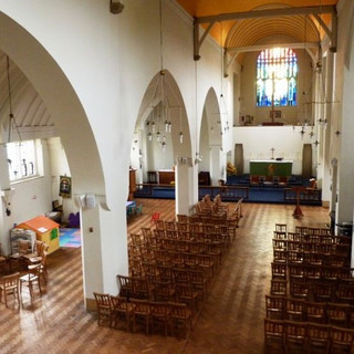 The church interior from the gallery