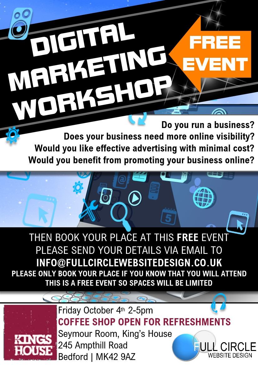 Free digital marketing workshop Bedford