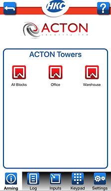 ACTON Security Ltd App control screen