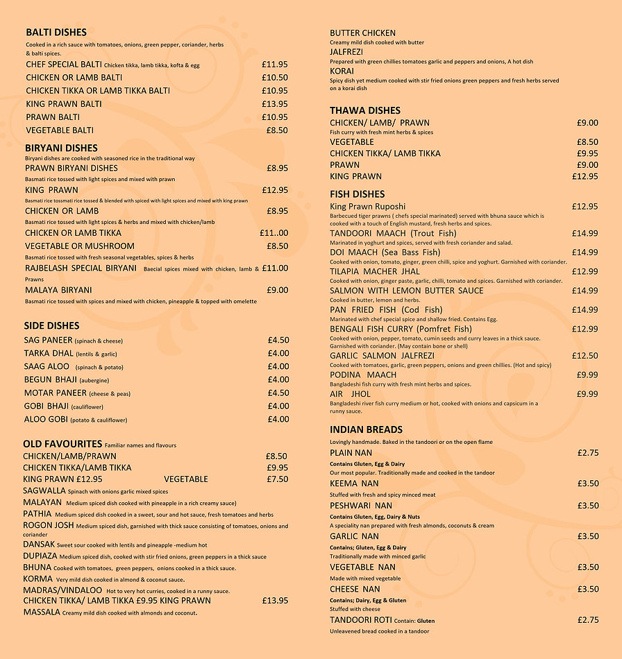 Rajbelash takeaway menu inside back 5, 6