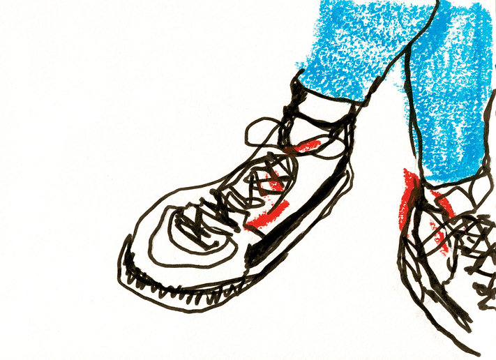 Sneakers. Ink and paintsticks