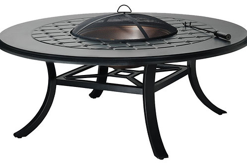 "54"" Round Madrid Fire Pit & Umbrella Table"