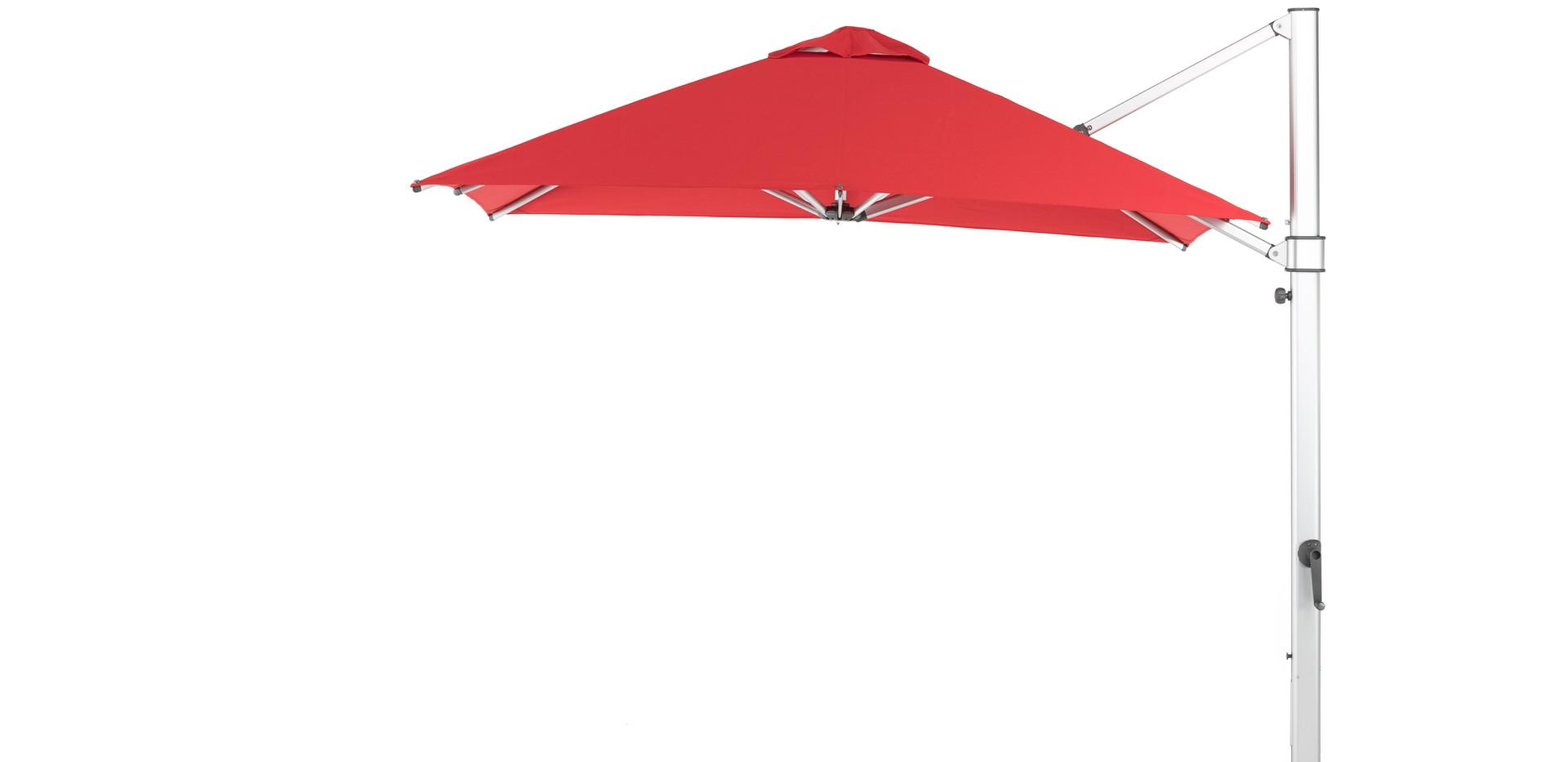 "9""x9"" Square Auroa shown with Logo Red Sunbrella and Matte Silver frame."