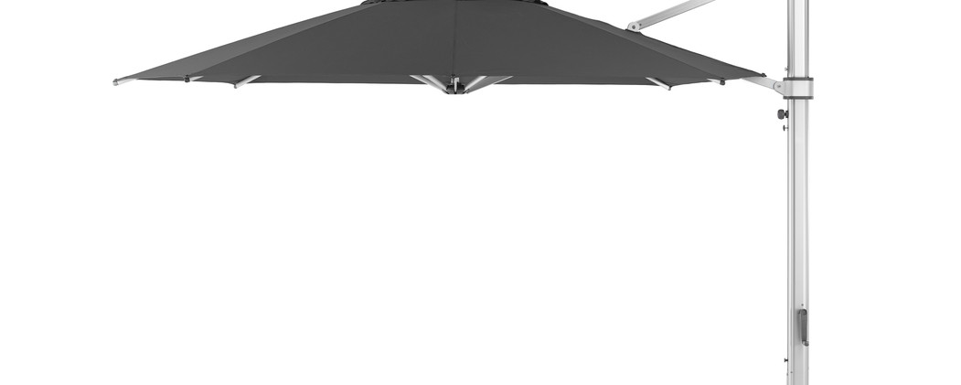 """13"""" Octogan Eclipse shown with Cadet Grey Sunbrella fabric and a Matte Silver frame."""