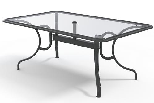 """42""""x68"""" Glass Table w/Umb Hole"""