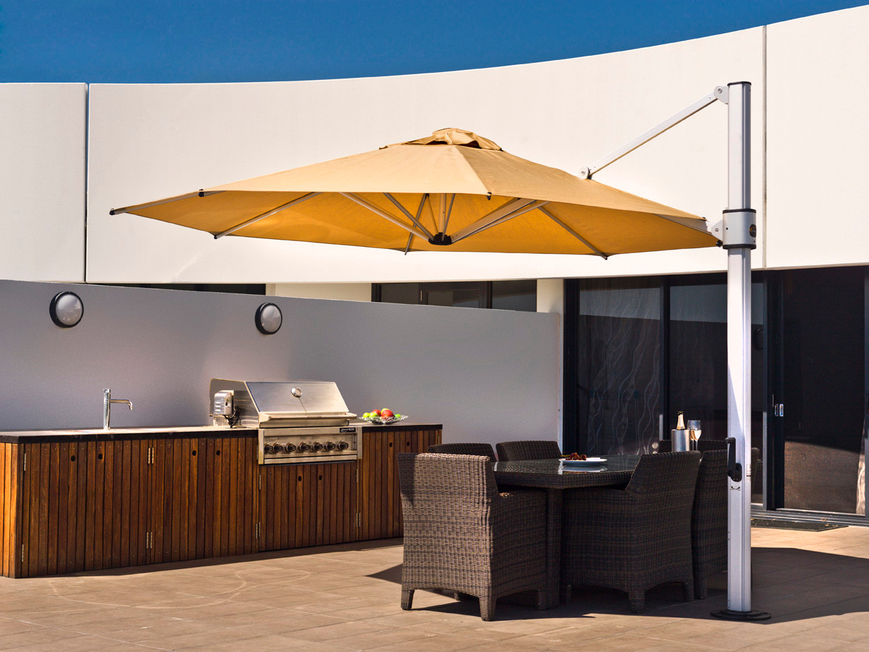 """13"""" Eclipse shown with Toast Sunbrella fabric and Matte Silver rame."""